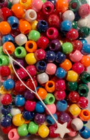 multicolor medium hair beads with sheen