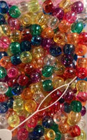 multicolor translucent medium hair beads with sheen