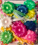 neon flower barrette mix