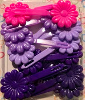shades of Pink and purple Flower Barrettes