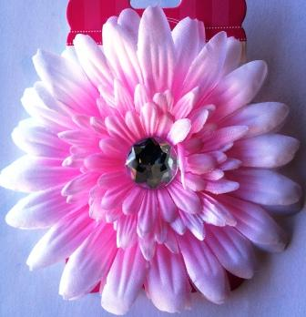 Pink Flower Hair Bow with Bling