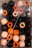 earth tones wooden hair beads