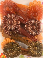 shades of brown flower kids barrettes