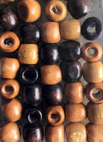 Shades of brown Wooden Hair Beads (2 Packs)