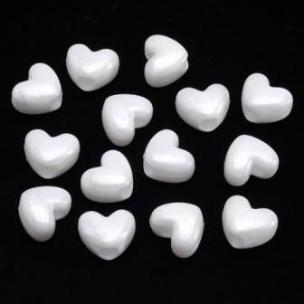 White Pearl Heart Hair beads