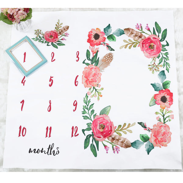 Newborn Baby Age Milestone Photography Sheet - Watercolour Florals