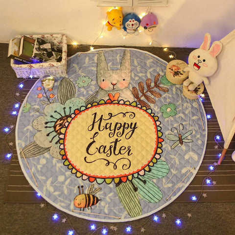 Beautiful Baby & Kids Fun Playmat Circle 150cm - Happy Easter Bunny Rabbit