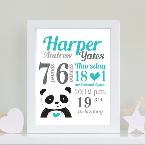 Baby Info Print - The Harper
