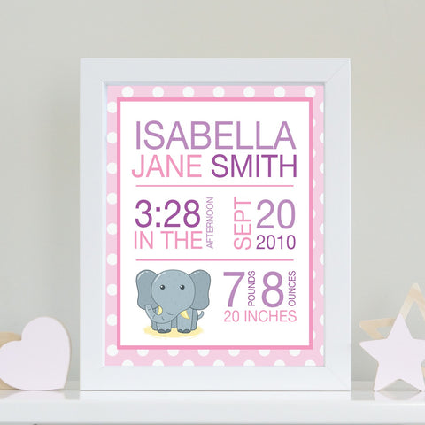 Baby Info Print - The Isabella