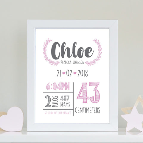 Baby Info Print - The Chloe