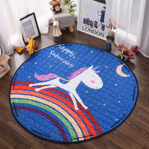 Beautiful Baby & Kids Fun Playmat Circle 150cm - Rainbow Unicorn