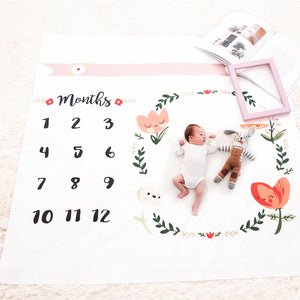 Newborn Baby Age Milestone Photography Sheet - Floral Wreath