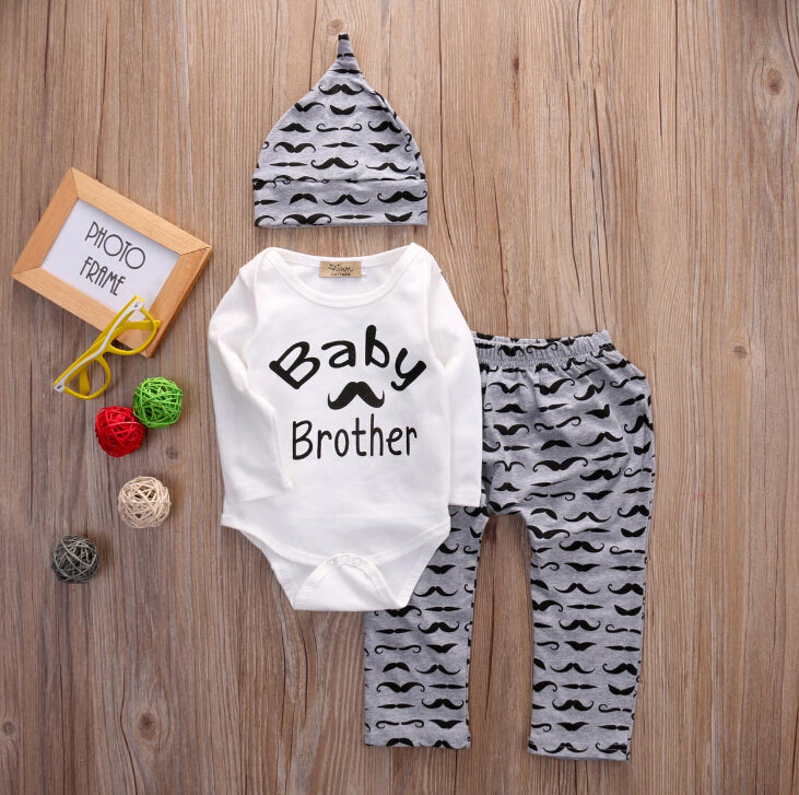 Baby Brother Moustache 3pc Set