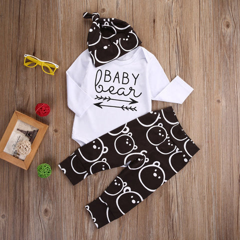 Baby Bear Face 3pc Set with Beanie Hat