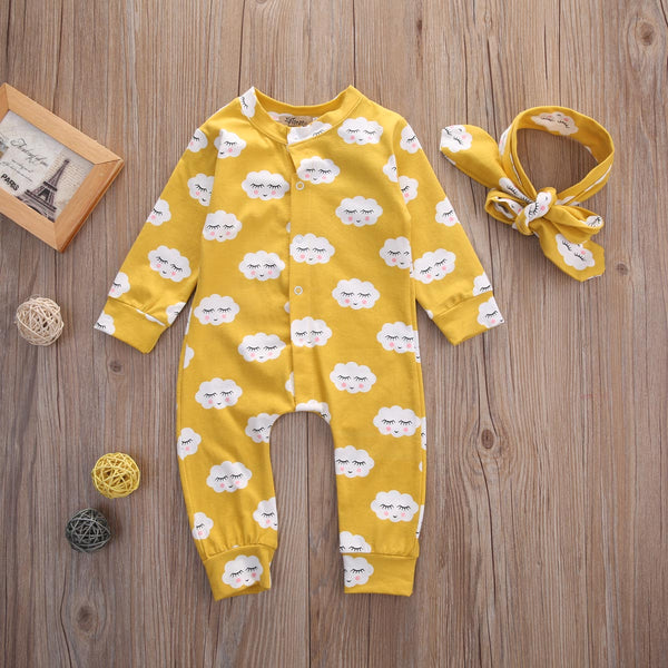 Happy Clouds Long Sleeved Romper 2pc Set