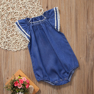 Denim Style Baby Bodysuit with Flared Ruffle Shoulder Trim