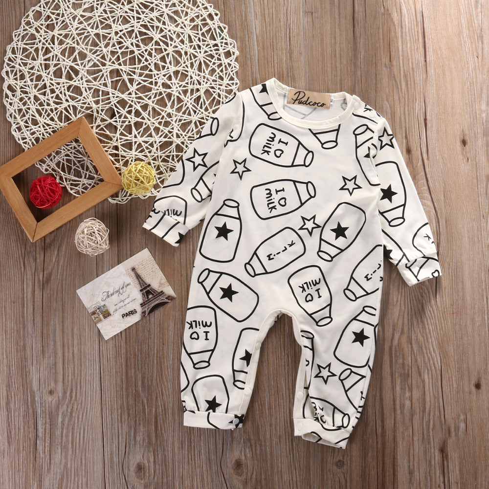 """I Heart Milk"" Long Sleeved Romper"