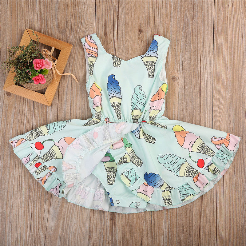 Icecream Print All in One Romper Sundress