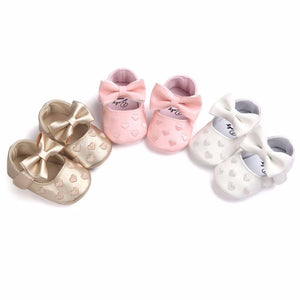 SweetHeart Print Bow Mary Jane Shoes (3colours)