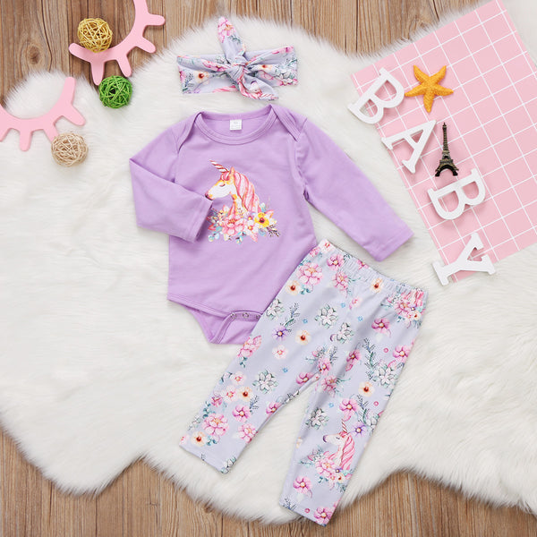 Floral Unicorn Print 3pc Set (2colours)