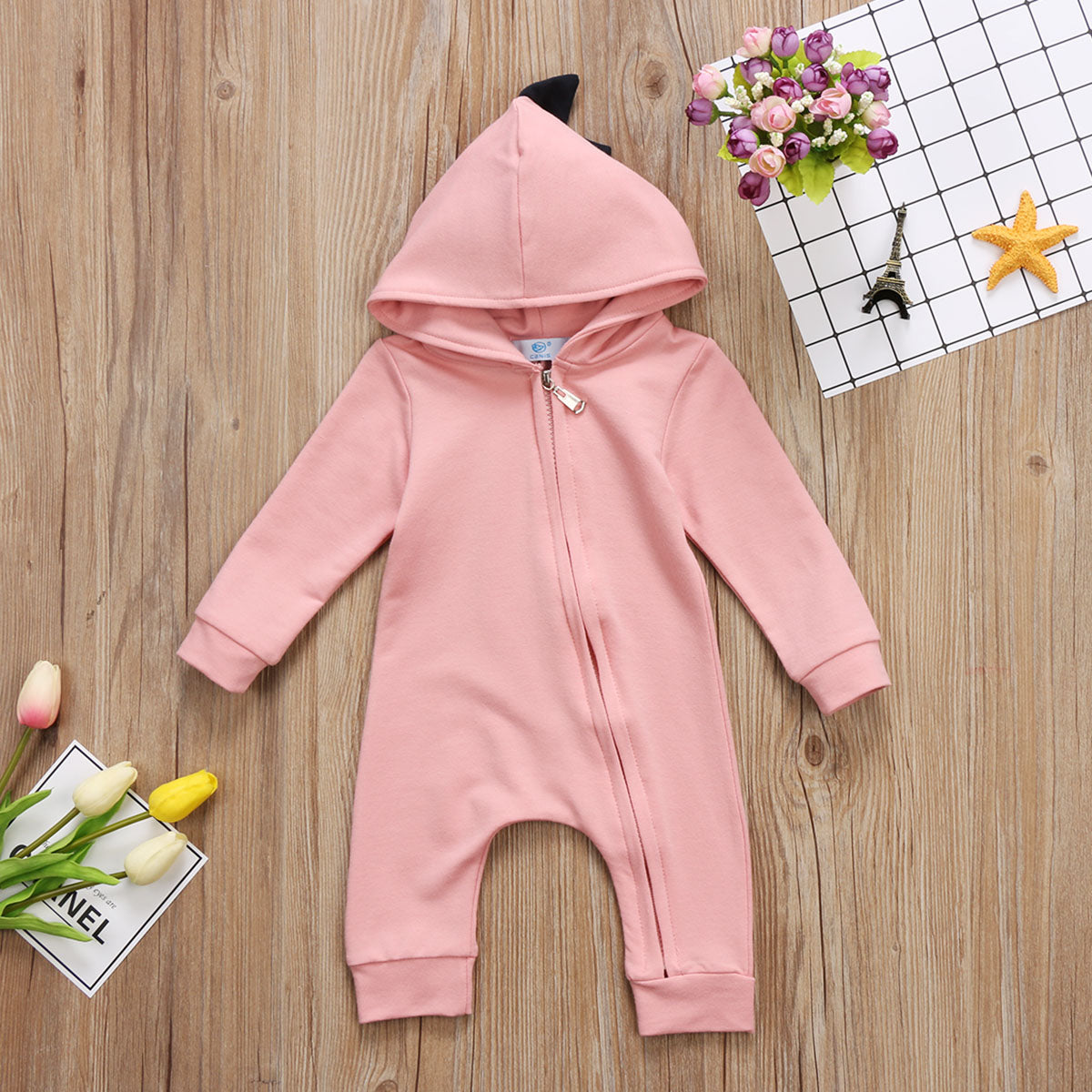 Dinosaur Design Hooded Long Sleeve Romper (2colours)