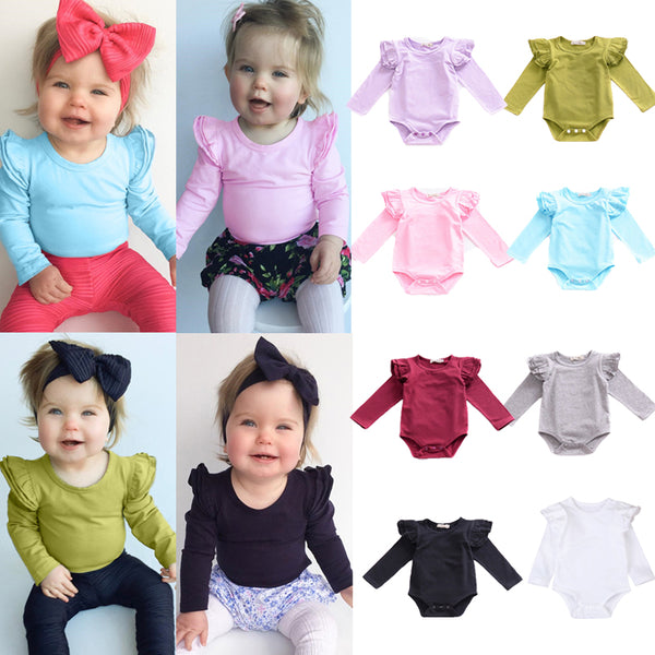Ruffle Shoulder Long Sleeved Onesie Bodysuit (8colours)