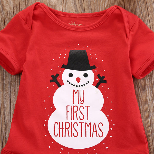 """My First Christmas"" Snowman Summer Onesie"