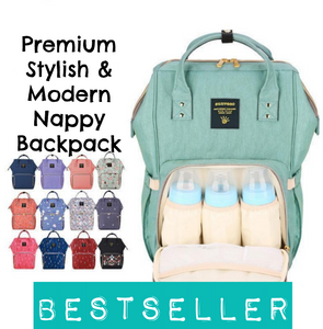 Premium Stylish & Modern Spacious Baby Nappy Bag Backpack (15colours)