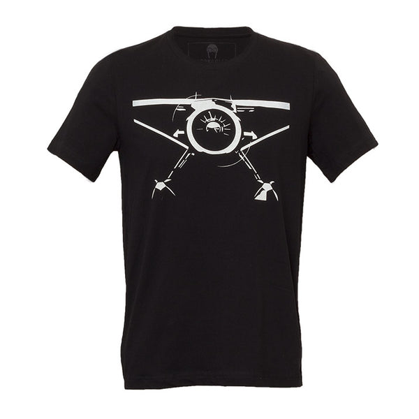Bernoulli Apparel's Backcountry Radial, black mens cut heavy cotton tshirt with a white bush-plane screen printed on the front,
