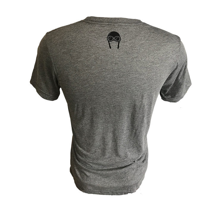 Back view of our Backcountry Radial, Gray colored unisex cut triblend tshirt with a black screen printed Bernoulli Apparel logo.