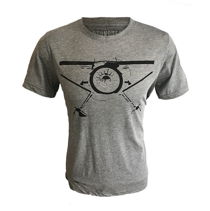 Bernoulli Apparel's Backcountry Radial, Gray colored unisex cut triblend tshirt with a black bush-plane screen printed on the front.