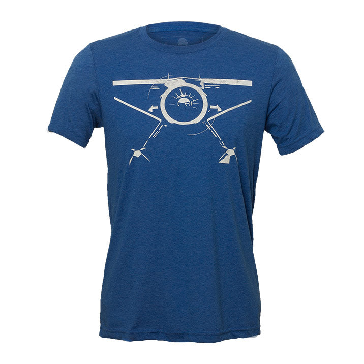 Bernoulli Apparel's Backcountry Radial, royal blue colored unisex cut triblend tshirt with a white bush-plane screen printed on the front,