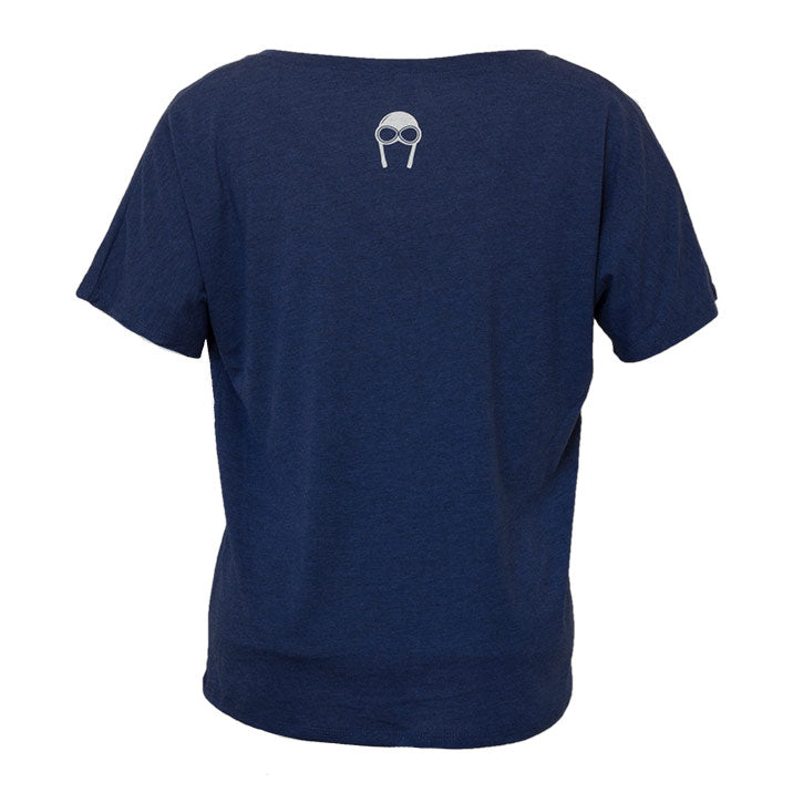 Back view of our Backcountry Radial navy-blue triblend vneck with white Bernoulli Apparel logo, with white screen printed Bernoulli Apparel logo.