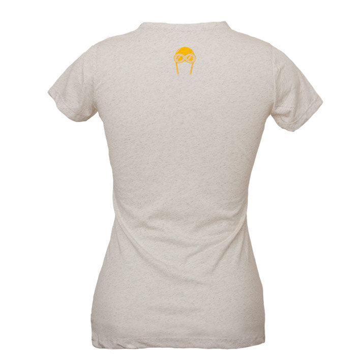 Back view of our Backcountry Radial oatmeal colored womens cut triblend, with gold screen printed Bernoulli Apparel logo.