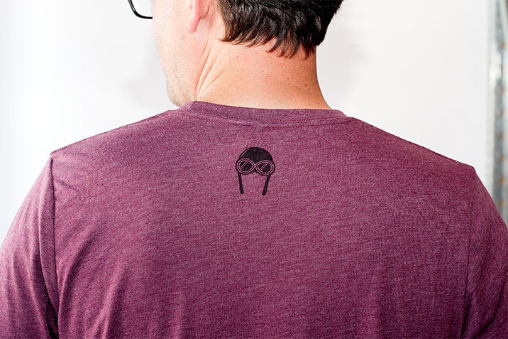 Bernoulli Apparel's Wind Pattern tshirt, maroon unisex cut triblend, with black screen printed Bernoulli Apparel logo.