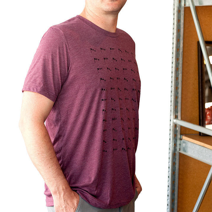 Bernoulli Apparel's Wind Paattern, maroon triblend unisex cut tshirt, with black screen printed wind socks.