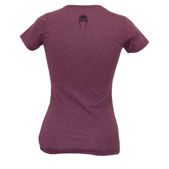 Bernoulli Apparel's Wind Pattern, maroon colored womens cut triblend, with black screen printed Bernoulli Apparel logo.