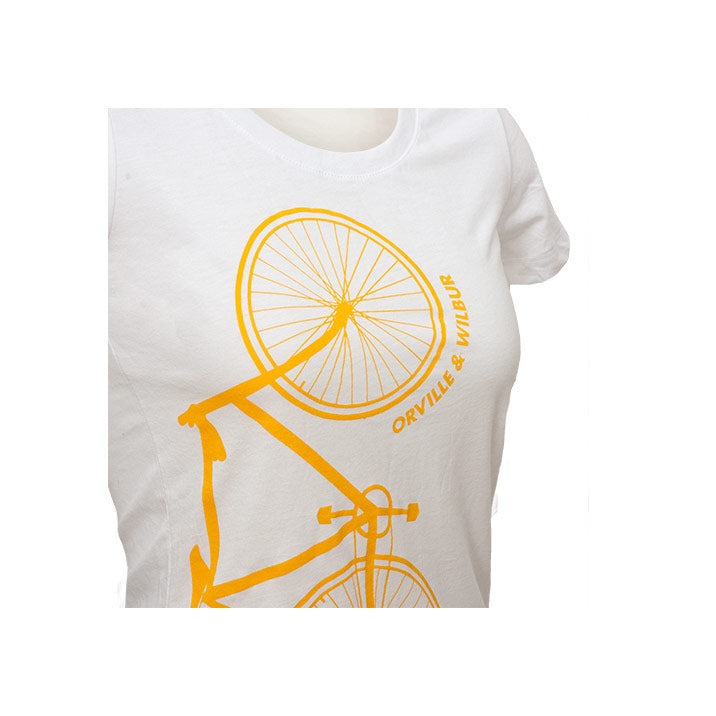 Side view of Bernoulli Apparel's Wright Brothers Bike tshirt, a white triblend womens cut, with a screen printed gold bicycle and Orville & Wilbur lettering.