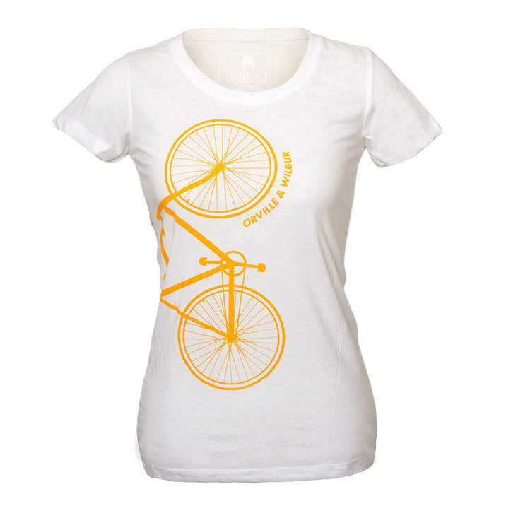 Bernoulli Apparel's Wright Brothers Bike tshirt, a white triblend womens cut, with a screen printed gold bicycle and Orville & Wilbur lettering.