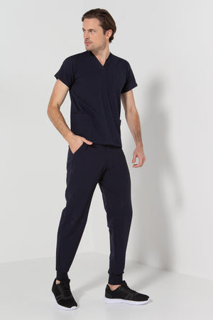 502-SP NAVY Unisex stretch scrub jogger pant