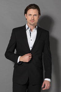 8610-WT-BLK: Slim cut two button jacket