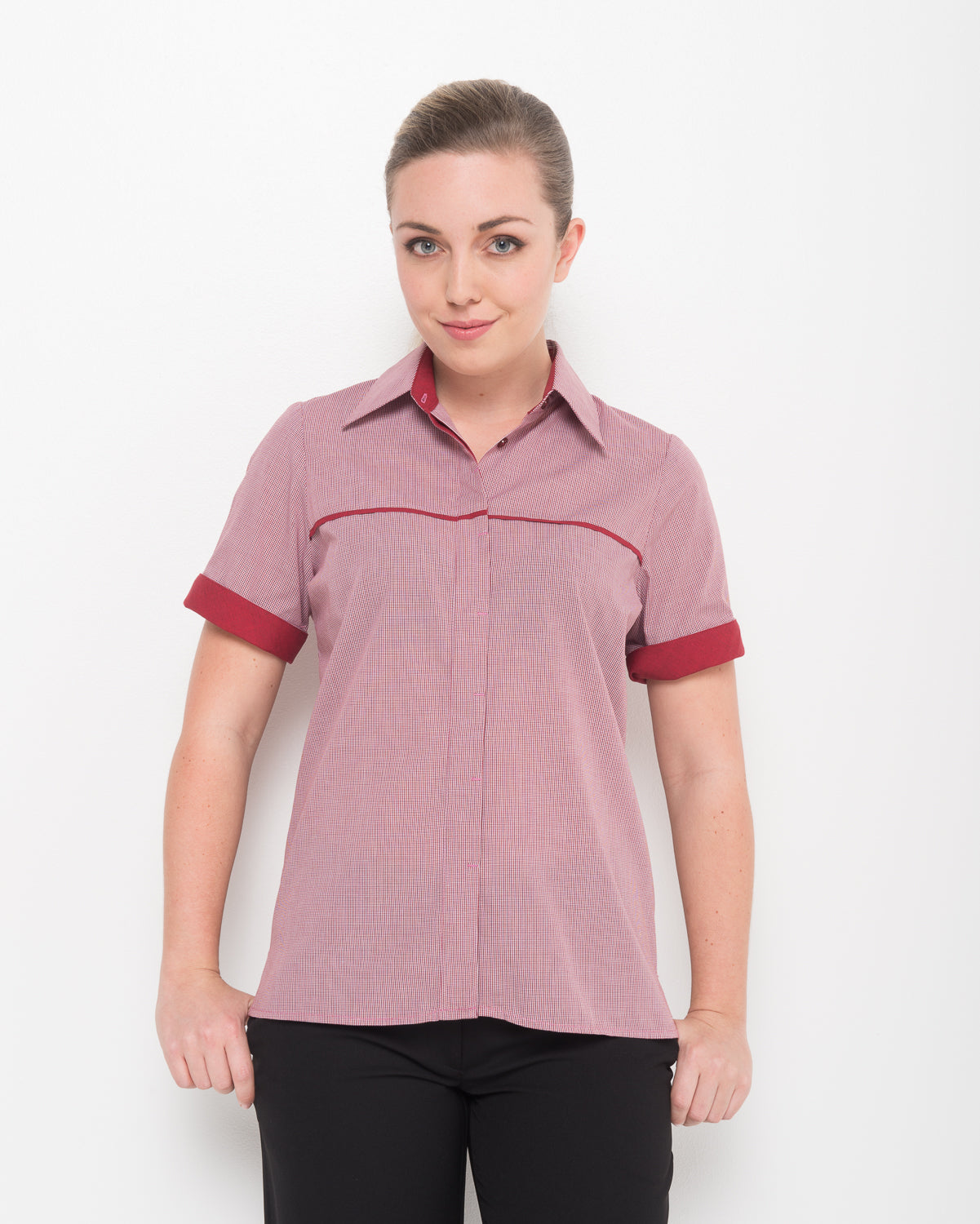 208-LO-CHE: 1/2 sleeve contrast pipping shirt