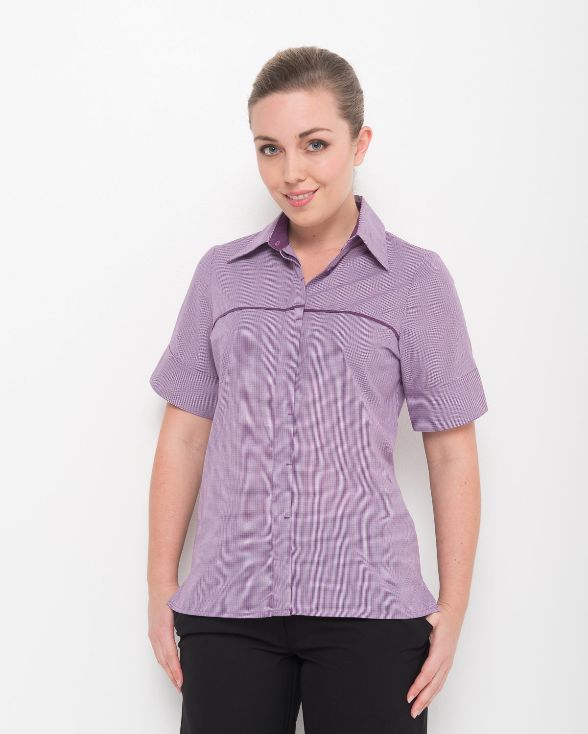 208-LO-PLU: 1/2 sleeve contrast pipping shirt