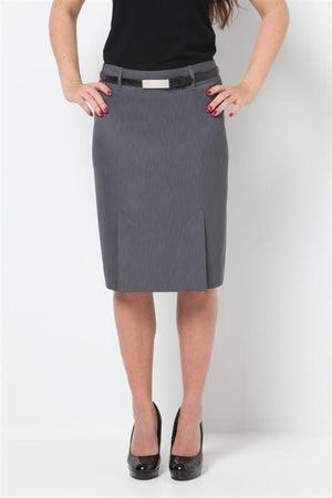 315-MF-GRY: Kick pleat skirt