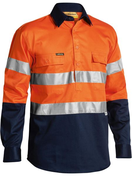 BIBTC6456: 2 TONE CLOSED FRONT HI VIS DRILL SHIRT 3M REFLECTIVE TAPE L/S