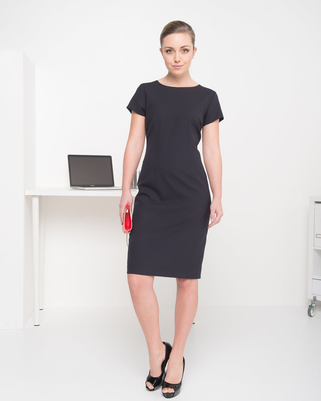 420-MF-NVY: Cap sleeve semi fitted dress