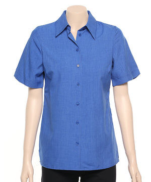2162-PL-BLA: S/S easy fit action pleat shirt