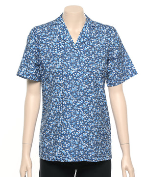 2166-BL-P21: S/S easy fit revere collar action pleat shirt