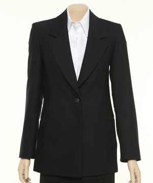 699-MF-NVY: 2 button long line jacket with pockets