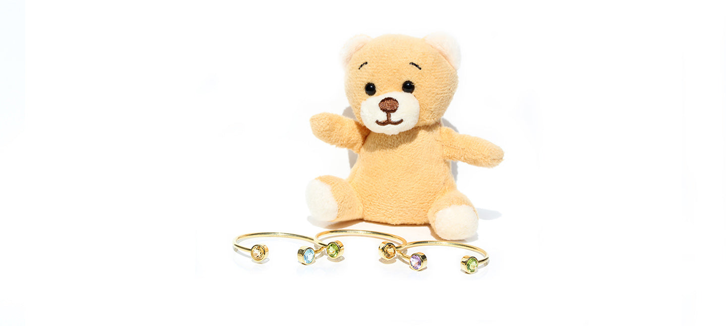 kids bangles with citrine, blue topaz, peridot and amethyst in silver, yellow gold plated
